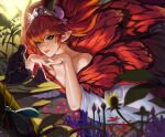 1boy 1other absurdres butterfly_wings dark_knight_(final_fantasy) dress earrings fairy fairy_wings feo_ul final_fantasy final_fantasy_xiv green_eyes highres jewelry on_(isk1812) open_mouth orange_hair plant pointy_ears smile tiara titania_(final_fantasy) wings