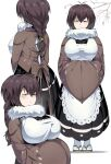 1girl apron bird blue_eyes braid breasts brown_hair eurasian_tree_sparrow highres japanese_clothes large_breasts long_hair multiple_views original personification shimure_(460) single_braid smile sparrow tabi white_apron white_legwear wide_sleeves zouri