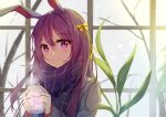 1girl absurdres animal_ears animal_print beige_jacket blurry blurry_background blush bow bunny_print closed_mouth cup diving_penguin eyebrows_visible_through_hair hair_between_eyes hair_bow highres holding holding_cup hot_drink long_hair looking_at_viewer mug plaid plaid_scarf purple_hair rabbit_ears reisen_udongein_inaba scarf smile snow solo steam touhou tree upper_body violet_eyes window winter_clothes yellow_bow