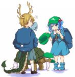1boy 2girls ankle_socks backpack bag bangs beard black_footwear blonde_hair blue_bag blue_eyes blue_footwear blue_hair blue_shirt blue_skirt blush boots closed_mouth collared_shirt commentary dragon_girl dragon_horns dragon_tail eighth_note english_commentary eyebrows_visible_through_hair facial_hair flat_cap frilled_shirt_collar frills full_body genjii_(touhou) green_headwear hair_bobbles hair_ornament hand_on_own_chin hand_on_own_face hat hitodama_print horns kawashiro_nitori key kicchou_yachie long_skirt long_sleeves looking_at_another looking_back medium_hair multiple_girls musical_note pleated_skirt pocket puffy_short_sleeves puffy_sleeves red_eyes rubber_boots scales shirt short_hair short_sleeves sidelocks simple_background skirt skirt_set slit_pupils smile socks spoken_musical_note standing sweatdrop swept_bangs tail thick_eyebrows tortoise touhou touhou_(pc-98) turtle turtle_shell twintails white_background white_legwear wool_(miwol)