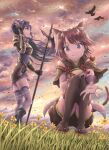 2girls :3 \||/ animal_ear_fluff animal_ears armor armored_dress bangs bell bird black_footwear brown_hair brown_legwear brown_shorts clouds cloudy_sky commentary detached_sleeves dress eyebrows_visible_through_hair flower full_body gauntlets grass halberd hand_on_own_knee headband hirokazu_(analysis-depth) holding holding_spear holding_weapon jewelry kneeling long_hair looking_at_viewer mifuyu_(princess_connect!) mountainous_horizon multiple_girls outdoors outstretched_hand polearm ponytail princess_connect! princess_connect!_re:dive purple_dress purple_hair purple_legwear reaching_out red_eyes red_footwear red_ribbon ribbon ring sandals short_hair short_shorts short_sleeves shorts sky smile spear standing tail tamaki_(princess_connect!) thigh-highs violet_eyes weapon wide_sleeves wind