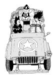 1girl 2boys :d bangs bow breasts buttons car closed_mouth coat commentary_request dragon_ball dragon_ball_(classic) driving frown gloves grey_background greyscale ground_vehicle hat highres kajino_(aosansai) katana left-hand_drive long_hair long_sleeves looking_at_another mai_(dragon_ball) monochrome motor_vehicle multiple_boys open_mouth pilaf rear-view_mirror shoes shuu_(dragon_ball) simple_background sitting smile snout star_(symbol) steering_wheel sword sword_behind_back weapon whiskers