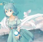 1girl aqua_background aqua_dress belt blue_eyes blue_hair blurry breasts closed_mouth collarbone cowboy_shot danmaku depth_of_field dress dutch_angle energy_ball fence flower hagoromo hair_between_eyes hair_rings kaku_seiga looking_at_viewer open_clothes open_vest puffy_short_sleeves puffy_sleeves shawl short_hair short_sleeves sky small_breasts smile solo standing touhou vest white_bird yuyin_(uzrv7533)