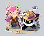 1boy 1girl armor autumn_leaves breath cape closed_eyes coat earmuffs gloves grey_background highres kirby:_planet_robobot kirby_(series) long_hair mask meta_knight musical_note pink_hair rariatto_(ganguri) scarf shoulder_armor spoken_squiggle squiggle susie_(kirby)