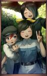 3girls :d ^_^ absurdres arctic_tern_(kemono_friends) arm_hug belt black_gloves black_hair black_wings blue_eyes breast_pocket captain_(kemono_friends) closed_eyes commentary_request eyebrows_visible_through_hair facing_viewer frame gloves hair_over_one_eye hair_ribbon hat head_wings highres jungle_crow_(kemono_friends) kemono_friends long_sleeves looking_at_viewer multicolored_hair multiple_girls nature open_mouth outdoors pocket redhead ribbon short_hair short_sleeves signature smile spread_wings two-tone_hair upper_teeth v welt_(kinsei_koutenkyoku) wings yellow_ribbon