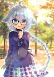 1girl :d ahoge bangs black-framed_eyewear blue_dress blue_eyes blurry blurry_background blush braid breasts commentary_request day depth_of_field dress eyebrows_visible_through_hair fang finger_to_mouth glasses hair_between_eyes hair_flaps hair_ornament hairclip hand_up heterochromia kouu_hiyoyo long_hair long_sleeves open_mouth original outdoors pleated_skirt polka_dot_skirt puffy_long_sleeves puffy_sleeves silver_hair single_braid skirt sleeves_past_wrists small_breasts smile solo very_long_hair violet_eyes white_skirt