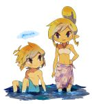 1boy 1girl artist_name bangs bare_arms blonde_hair blush brown_eyes closed_mouth collarbone commentary_request eyebrows_visible_through_hair hand_on_hip highres link looking_at_another male_swimwear navel pointy_ears sarong shirtless sidelocks sitting smile standing swim_trunks swimwear tetra the_legend_of_zelda tokuura wading water watermark wrist_wrap