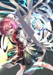 1girl bandages black_skirt breasts bun_cover chain chromatic_aberration clenched_hand commentary_request cuffs energy_ball feet_out_of_frame flower from_above gradient gradient_background hair_between_eyes highres ibaraki_kasen medium_breasts open_mouth pink_eyes pink_hair ribbon-trimmed_skirt ribbon_trim rose shackles shirt short_hair short_sleeves shukusuri simple_background skirt solo tabard touhou v-shaped_eyebrows white_shirt
