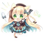 1girl :d animal_ear_fluff animal_ears arm_up bangs beret black_bow blonde_hair blue_footwear blue_hair blue_legwear blue_skirt blush bow braid breasts brown_hair brown_headwear cat_ears cat_girl cat_tail chibi commentary_request eyebrows_visible_through_hair food frilled_skirt frills full_body green_eyes hair_between_eyes hat kneehighs long_hair looking_at_viewer medium_breasts multicolored_hair open_mouth original puffy_short_sleeves puffy_sleeves shikito shirt shoes short_sleeves simple_background skirt smile solo spoon streaked_hair striped tail twin_braids two-tone_hair vertical-striped_skirt vertical_stripes very_long_hair white_background white_shirt wrist_cuffs