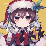 1girl arknights bangs black_neckwear blush bow brown_hair christmas closed_mouth commentary_request eyebrows_visible_through_hair fur_trim gloves green_hair hair_between_eyes hat holding looking_at_viewer multicolored_hair orange_eyes originium_slug_(arknights) plume_(arknights) santa_costume santa_hat sasa_onigiri short_hair smile thumbs_up two-tone_hair upper_body white_gloves yellow_bow