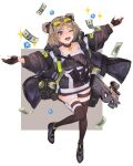1girl absurdres bangs blurry blush border brown_coat brown_dress brown_gloves brown_legwear bullpup choker coat collarbone commentary crystal diamond_(gemstone) dollar_bill double_bun dress fingerless_gloves floating_clothes gas_mask girls_frontline gloves grey_background grey_footwear gun hands highres jewelry jumping knees_together_feet_apart money one_eye_closed open_clothes open_coat open_mouth optical_sight outstretched_arms p90 p90_(girls_frontline) parted_bangs pendant pouch red_eyes reraise shoes short_dress short_hair simple_background smile solo sparkle standing standing_on_one_leg strap submachine_gun sunglasses teeth thigh-highs thigh_strap two-tone_background weapon white_background white_border yellow-tinted_eyewear