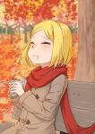 1girl alternate_color autumn autumn_leaves bench blonde_hair brown_coat coat commentary_request eating fate/grand_order fate_(series) food food_on_face forest highres leaf maple_leaf nature outdoors paul_bunyan_(fate/grand_order) red_scarf scarf short_hair solo sweet_potato tree tsugumi_amon