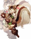 1girl absurdres animal_ears blush brown_hair brown_legwear eyebrows_visible_through_hair full_body green_eyes heart heart-shaped_pupils highres looking_at_viewer monster_girl monster_girl_encyclopedia multicolored_hair open_mouth over-kneehighs ratatoskr_(monster_girl_encyclopedia) rnskkn short_hair smile solo squirrel_ears squirrel_girl squirrel_tail symbol-shaped_pupils tail thigh-highs two-tone_hair white_hair