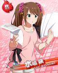 blush brown_hair character_name dress green_eyes idolmaster idolmaster_side-m long_hair mizushima_saki trap twintails