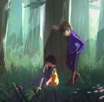 2boys against_tree ash_ketchum black_hair boots brown_footwear closed_eyes commentary_request day denim ester_(yhs1862) gary_oak gen_1_pokemon grass hand_in_pocket highres jacket jeans jewelry korean_commentary looking_at_another male_focus multiple_boys necklace outdoors pants pikachu pokemon pokemon_(anime) pokemon_(classic_anime) pokemon_(creature) purple_pants purple_shirt shirt shoes short_sleeves sleeping standing tree