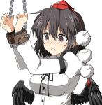 1girl black_hair black_neckwear bound breasts brown_eyes chain cuffs handcuffs hat highres long_sleeves neck_ribbon pom_pom_(clothes) red_headwear ribbon rise_(rise19851203) shackles shameimaru_aya shirt simple_background solo tokin_hat touhou white_background white_shirt wings