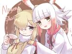 2girls :d alpaca_ears alpaca_suri_(kemono_friends) animal_ear_fluff animal_ears bangs beige_vest blow blunt_bangs brown_hair character_name cup eyebrows_visible_through_hair fur-trimmed_sleeves fur_collar fur_trim gloves gradient gradient_background grey_eyes hair_over_one_eye head_wings highres holding holding_cup horizontal_pupils japanese_crested_ibis_(kemono_friends) kemono_friends long_sleeves looking_at_viewer multiple_girls open_mouth red_gloves redhead shirt short_hair short_hair_with_long_locks sidelocks simple_background smile teacup tmtkn1 white_hair white_shirt wide_sleeves yellow_eyes