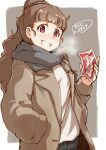 1girl bangs beige_coat black_pants blunt_bangs braid braided_bun breasts breath brown_hair coat grey_scarf grin hair_bun hand_in_pocket holding idolmaster idolmaster_cinderella_girls kamiya_nao long_hair long_sleeves looking_at_viewer medium_breasts open_clothes open_coat pants red_eyes satomura_kyou scarf shirt smile solo speech_bubble teeth thick_eyebrows translated upper_body white_shirt