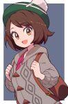 1girl backpack bag blush brown_eyes brown_hair eyebrows_visible_through_hair gloria_(pokemon) hat highres looking_at_viewer nazonazo_(nazonazot) open_mouth pokemon pokemon_(game) pokemon_swsh short_hair smile solo tam_o'_shanter