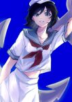 1girl absurdres anchor bangs black_hair blue_background breasts collarbone cowboy_shot dutch_angle green_eyes hair_between_eyes hat highres holding_anchor looking_at_viewer midriff_peek murasa_minamitsu parted_lips red_neckwear ringo_orihara sailor_collar sailor_hat sailor_shirt school_uniform serafuku shirt short_hair short_sleeves simple_background skirt small_breasts solo standing swept_bangs teeth touhou v-shaped_eyebrows white_headwear white_shirt white_skirt