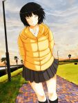 :d ^_^ amagami arms_behind_back bangs black_legwear black_skirt brick_floor closed_eyes clouds cloudy_sky dress_shirt dutch_angle grass grin hair_strand highres jacket kneehighs lamppost light_blush messy_hair nanasaki_ai open_mouth palm_tree puffer_jacket saitou_shouki school_uniform shirt short_hair sidewalk skirt sky smile sunset tree white_shirt wind yellow_jacket