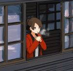 1girl absurdres bangs black_hairband breath brown_eyes brown_hair cold commentary_request hair_ribbon hair_tie hairband hands_together highres jacket kantai_collection looking_ahead looking_out_window looking_outside morakkyo_(mephilas_g3) open_mouth open_window parted_bangs ponytail red_jacket ribbon shikinami_(kantai_collection) shirt short_hair solo white_shirt window wooden_floor wooden_wall