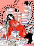 1girl barefoot black_hair book_stack bookmark closed_eyes commentary_request cup funaoka heart japanese_clothes kimono ladder leaning_back long_hair long_sleeves lying messy_hair monochrome obi oekaki original pillow print_kimono red_kimono sash sitting sleeping solo stepladder tapir tea_set teacup wide_sleeves