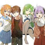 1boy 3girls absurdres hanyuu highres higurashi_no_naku_koro_ni maebara_keiichi multiple_girls ryuuguu_rena shosudo sonozaki_shion tagme