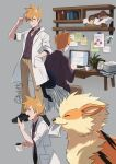 1boy arcanine bangs basket belt black_footwear blue_oak book brown_pants chair closed_eyes closed_mouth collared_shirt commentary computer cup cuteskitty desk eevee english_commentary gen_1_pokemon grey_background hand_in_pocket hand_up highres holding holding_cup jewelry labcoat laptop male_focus mug multiple_views necklace open_mouth orange_hair pants paper photo_(object) plant pokemon pokemon_(game) pokemon_sm potted_plant shirt shoes sitting smile spiky_hair teeth yawning