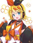 1girl bangs black_bow black_sleeves blonde_hair blue_eyes bow cherry_blossom_print commentary detached_sleeves floral_print hair_bow hair_ornament hairclip headphones headset highres japanese_clothes kagamine_rin kimono looking_at_viewer magical_mirai_(vocaloid) open_mouth orange_bow short_hair sleeves_past_wrists smile solo supo01 swept_bangs two-tone_bow upper_body vocaloid white_kimono