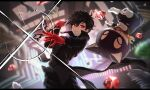 1boy 1other :3 amamiya_ren black_hair black_jacket black_pants cat closed_eyes cow fumotogi gem gloves glowing glowing_eyes hair_between_eyes holding holding_weapon jacket looking_at_viewer male_focus mask morgana_(persona_5) pants persona persona_5 persona_5_the_royal red_gloves short_hair smile sparkle upside-down weapon