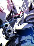 absurdres aiming aiming_at_viewer close-up glowing glowing_eye gun gundam gundam_0080 highres holding holding_gun holding_weapon horns huge_filesize kampfer_(mobile_suit) looking_to_the_side mecha no_humans one-eyed papa-kun_(destiny549-2) science_fiction single_horn solo spot_color weapon zeon