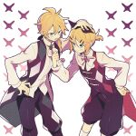 1boy 1girl argyle_print bangs black_vest blonde_hair blue_eyes clenched_hand cowboy_shot hair_ornament hairclip hand_on_another's_head hand_on_hip holding_neckwear kagamine_len kagamine_rin leaning_forward long_sleeves looking_at_another neckerchief okochama_sensou_(vocaloid) pouty_lips puffy_shorts shirt short_hair short_ponytail shorts spiky_hair standing suzumi_(fallxalice) swept_bangs tongue tongue_out v-shaped_eyebrows vest vocaloid white_shirt