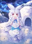 1girl absurdres animal_ears arctic_hare_(kemono_friends) eyebrows_visible_through_hair food highres huge_filesize igloo japari_bun kemono_friends looking_at_viewer mirage48291584 rabbit_ears red_eyes seiza sitting snow snow_shelter snowing white_footwear white_hair