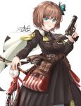 1girl artist_name belt bicycle blue_eyes brown_hair browning_hi-power bug butterfly cape dress eyebrows_visible_through_hair girls_frontline ground_vehicle gun handgun highres holding holding_gun holding_weapon holster hp-35_(girls_frontline) insect left-handed long_sleeves military military_uniform motoq pistol short_hair smile solo trigger_discipline uniform weapon white_background