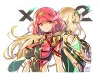 2girls anniversary back-to-back blonde_hair breasts chest_jewel crossed_arms earrings elbow_gloves gloves jewelry large_breasts long_hair multiple_girls mythra_(xenoblade) pyra_(xenoblade) red_eyes redhead saitou_masatsugu short_hair signature smile xenoblade_chronicles_(series) xenoblade_chronicles_2 yellow_eyes