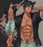 1boy abs animal_ears arm_behind_head arm_tattoo artist_name bare_pecs barefoot black_shirt blue_eyes blue_hair chain chain_necklace character_request closed_mouth collarbone commentary commission dark_skin dark_skinned_male drawstring earrings english_commentary eyebrows_visible_through_hair facial_mark feet final_fantasy final_fantasy_xiv full_body gem grey_background groin hair_between_eyes highres jewelry jouvru looking_at_viewer male_focus muscle navel necklace open_clothes open_shirt pectorals pubic_hair shirt short_sleeves smile solo standing stomach symbol_commentary tail tattoo thick_eyebrows toned zoom_layer