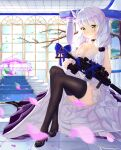 1girl absurdres assault_rifle dress evening_gown girls_frontline green_eyes gun h&k_hk416 high_heels highres hk416_(girls_frontline) low_twintails official_alternate_costume rifle shijiuqaq teardrop_tattoo thigh-highs twintails weapon white_hair