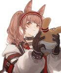 1girl angelina_(arknights) animal_ear_fluff animal_ears arknights bangs black_choker black_gloves brown_hair choker closed_mouth coat extra_ears fox_ears gloves headband highres holding holding_stuffed_toy long_hair long_sleeves orange_eyes red_headband sidelocks simple_background smile solo stuffed_animal stuffed_bunny stuffed_toy twintails upper_body white_background white_coat yoshikyuu