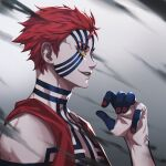 1boy akaza_(kimetsu_no_yaiba) bare_shoulders blue_sclera collarbone commentary_request face facepaint from_side hand_up highres himmel_(allsky83) jacket kimetsu_no_yaiba male_focus nail_polish open_clothes open_jacket open_mouth profile red_nails redhead short_hair smile solo spoilers tattoo teeth upper_body yellow_eyes
