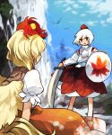 animal_on_head bird bird_on_head blonde_hair chick commentary_request hat highres holding holding_shield holding_sword holding_weapon inubashiri_momiji kaigen_1025 long_sleeves looking_at_another multicolored_hair niwatari_kutaka on_head open_mouth orange_skirt outdoors pom_pom_(clothes) red_eyes red_headwear redhead shield shirt short_hair short_sleeves skirt sword tokin_hat touhou two-tone_hair water waterfall weapon white_hair white_shirt wide_sleeves wings