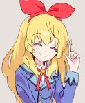 1girl aikatsu! aikatsu!_(series) bangs beige_background blonde_hair blue_jacket bow closed_eyes eyebrows_visible_through_hair hair_bow hoshimiya_ichigo idol idol_clothes jacket long_hair pointing pointing_up red_bow sidelocks smile solo utsubo_(utb)