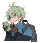 1boy adjusting_mask alternate_costume amami_rantarou antenna_hair backpack bag black_jacket blue_jacket brown_gloves cellphone commentary_request cropped_torso danganronpa ear_piercing earrings gloves green_eyes green_hair hair_between_eyes hands_up holding holding_phone jacket jewelry long_sleeves male_focus mask mouth_mask nabu_(d4ng4nn6bu12) new_danganronpa_v3 phone piercing shirt short_hair simple_background smartphone smile solo striped striped_shirt two-tone_jacket white_background