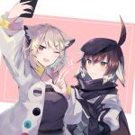 2girls ahoge animal_ear_fluff animal_ears arknights bangs beret black_gloves black_headwear black_shirt brown_eyes brown_hair cellphone gloves hat holding holding_phone jacket long_sleeves magenta_eyes multicolored_hair multiple_girls one_eye_closed open_clothes open_jacket open_mouth phone plume_(arknights) sasa_onigiri self_shot shirt smartphone smile sweatdrop taking_picture two-tone_hair upper_body utage_(arknights) v white_hair white_jacket