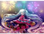 1girl aqua_eyes aqua_hair asagao_minoru bangs black_legwear black_skirt blunt_bangs blurry blurry_background bokeh commentary cowboy_shot depth_of_field fan fireworks folding_fan frilled_skirt frills from_behind hair_ornament hatsune_miku headphones highres holding holding_fan japanese_clothes kimono lantern long_hair looking_at_viewer looking_back magical_mirai_(vocaloid) miniskirt night open_mouth pink_sleeves pleated_skirt single_thighhigh skindentation skirt smile solo standing thigh-highs twintails very_long_hair vocaloid wide_sleeves