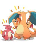 :d ^_^ azuma_minatsu blue_eyes charizard charmander charmeleon claws closed_eyes facing_another fangs fire full_body gen_1_pokemon grey_background happy highres looking_at_another no_humans one_eye_closed open_mouth pokemon pokemon_(creature) simple_background smile standing wings