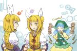 3girls apron bangs blonde_hair blue_hair blunt_bangs blush_stickers clone closed_eyes commentary_request double_bun dress eighth_note english_text green_headwear hair_ribbon hands_up haniwa_(statue) haniyasushin_keiki joutouguu_mayumi kaigen_1025 long_hair magatama magatama_necklace multiple_girls musical_note open_mouth ribbon shirt short_hair short_sleeves smile statue tools touhou upper_body vambraces white_background white_ribbon white_shirt yellow_dress yellow_eyes