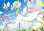 absurdres blue_eyes clouds commentary cutiefly day fang flying from_below gardevoir gen_3_pokemon gen_6_pokemon gen_7_pokemon gen_8_pokemon grass hatterene highres kisa_(kisa-kisa5900) leaves_in_wind mimikyu open_mouth outdoors pokemon pokemon_(creature) red_eyes ribombee sky smile standing sylveon tongue
