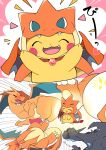 >_< :3 ^_^ azuma_minatsu blush blush_stickers charizard charizard_(cosplay) closed_eyes commentary_request cosplay fake_tail fake_wings fang gem gen_1_pokemon gigantamax happy heart highres laughing mega_charizard_x mega_charizard_y mega_pokemon no_humans open_mouth pikachu pokemon pokemon_(creature) smile standing tail thumbs_up translation_request wings