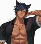 1boy abs animal_ears arm_tattoo artist_name black_shirt blue_eyes blue_hair chain chain_necklace closed_mouth collarbone commission dark_skin dark_skinned_male earrings eyebrows_visible_through_hair facial_mark final_fantasy final_fantasy_xiv hair_between_eyes highres jewelry jouvru looking_at_viewer male_focus muscle necklace open_clothes open_shirt pectorals shirt short_sleeves smile solo tattoo thick_eyebrows upper_body white_background